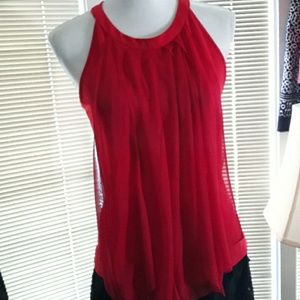 VENUS red tank top with decorative scarves